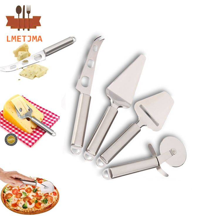 LMETJMA 4pcs/set Cheese Tools Set Stainless Steel Cheese Slicer Cheese Knife Pizza Wheel Cutter Pizza Shovel KC0324-5