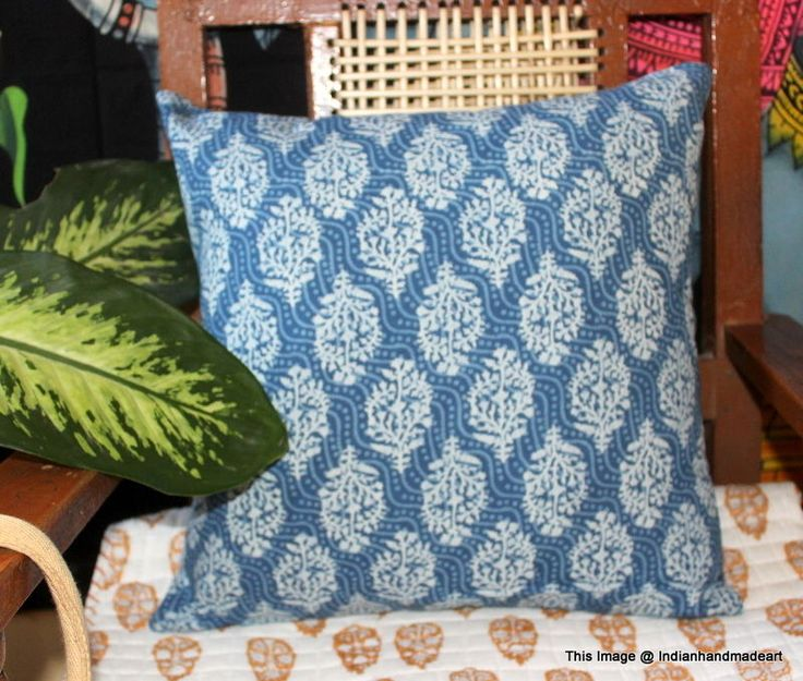 Indigo Blue Cushion Covers Fair Trade Handmade Indian Heavy Weight 100% Cotton 7 #Handmade #Traditional #PillowCoverPillowShamCushionCover