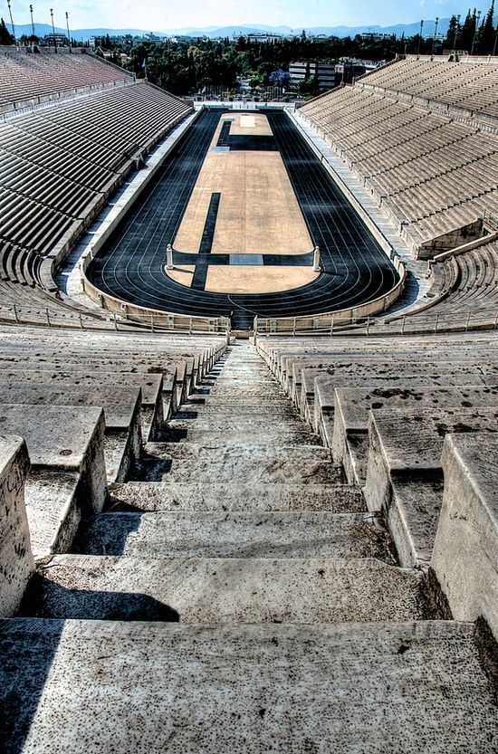 This is my Greece | The Panathenaic Stadium also known as the Kallimarmaro (meaning the beautifully marbled) is an athletic stadium in Athens that hosted the first modern Olympic Games in 1896. Panathenaic is the only major stadium in the world built entirely of white marble and the most ancient stadium in use in the world.