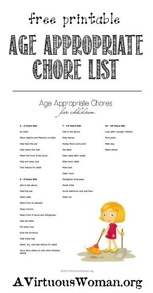 Children and Chores {Free Printable Age Appropriate Chores List} | A Virtuous