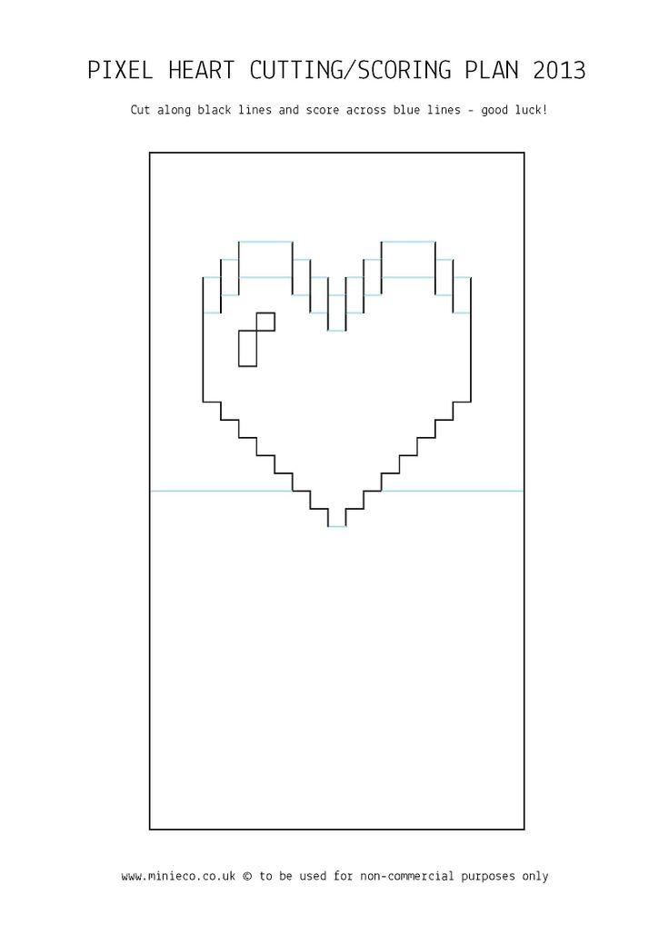 pixel heart pop up card