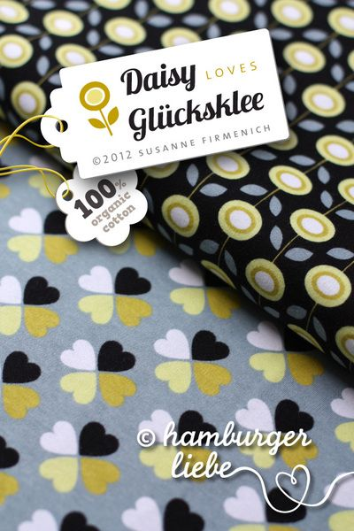 Daisy Jersey Hamburger Liebe Stoff ✿ schwarz gelb von Villa ❤ Stoff auf DaWanda.com