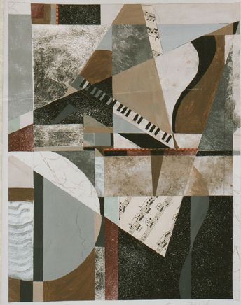 "#painting#cubism#abstract#contemporary#artist#music""Saturday Jazz (soft piano)"" 32""x40"" original mixed media collage on paper with silver leaf. Sold."