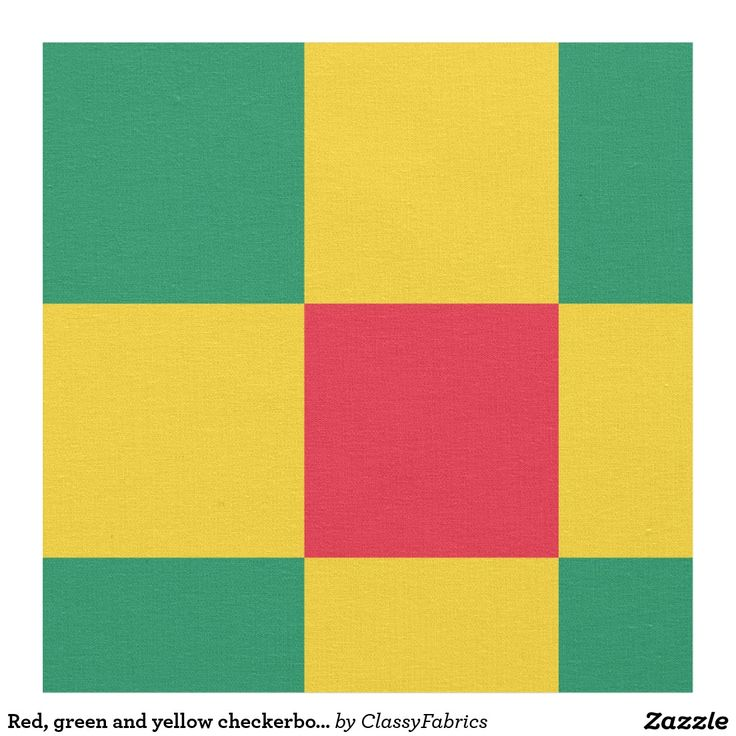Red, green and yellow checkerboard pattern fabric