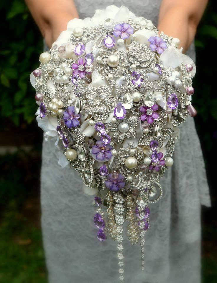 Deposit on lavender cascading jeweled brooch bouquet -- made to order wedding brooch bouquet. $280.00, via Etsy.
