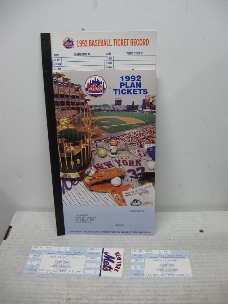 1992 NEW YORK METS SEASON TICKET BOOKLET 2 TICKETS 1 FULL/1 STUB SHEA STADIUM #NewYorkMets