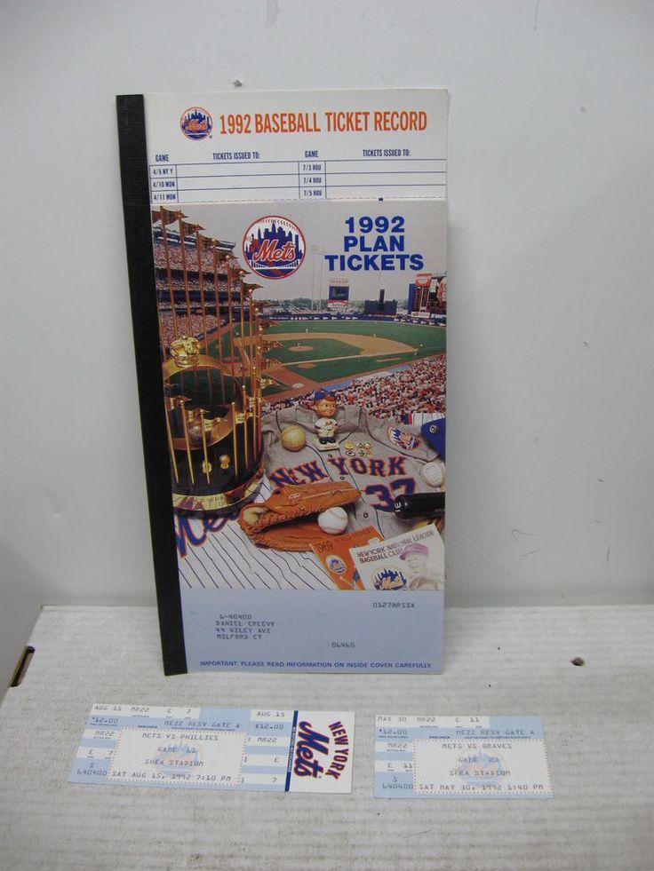 1992 NEW YORK METS SEASON TICKET BOOKLET 2 TICKETS 1 FULL/1 STUB SHEA STADIUM #NewYorkMets