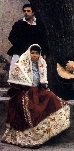 Overview of Sardinian Costume   Osilo  The elaborately embroidered head shawl is only worn on festive occasions.