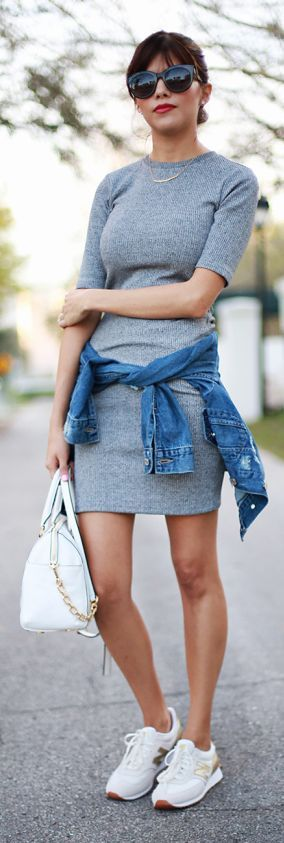 That gray Dress. Casual look. Fall women fashion outfit clothing stylish apparel @roressclothes closet ideas