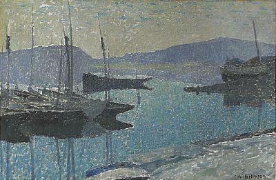 Carl Wilhelmson (1866-1928):  Hamnen i skymning