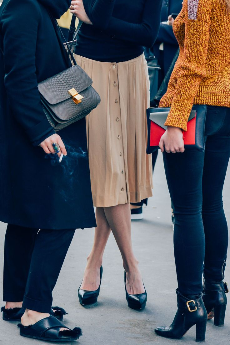 Great A/W street styling from Tommy Ton ~ Red shoes No knickers