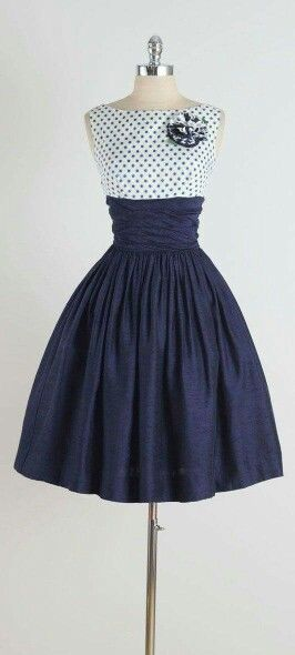 1950's blue and white dress