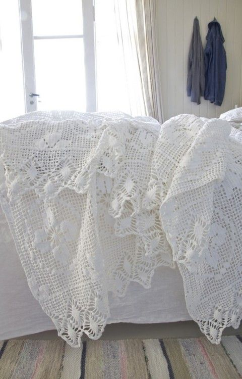 crocheted lace,i would sit for hours and watch my grandmother crochet with lace,i fell in love with it.
