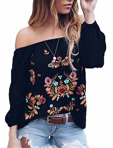 f8008e0a852481 Beautiful DUTUT Womens Sexy Off The Shoulder Tops Long Sleeve Boho Floral  Embroider Casual Blouse Shirt Women fashion Tops.   22.99  findanew from top  store