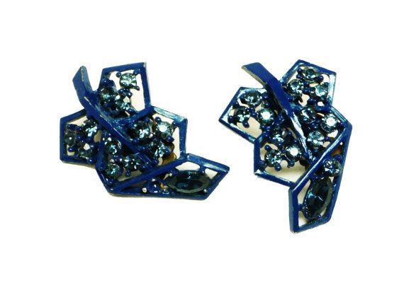 Blue Rhinestone Earrings  Navy Blue Enamel Clip by thejewelseeker