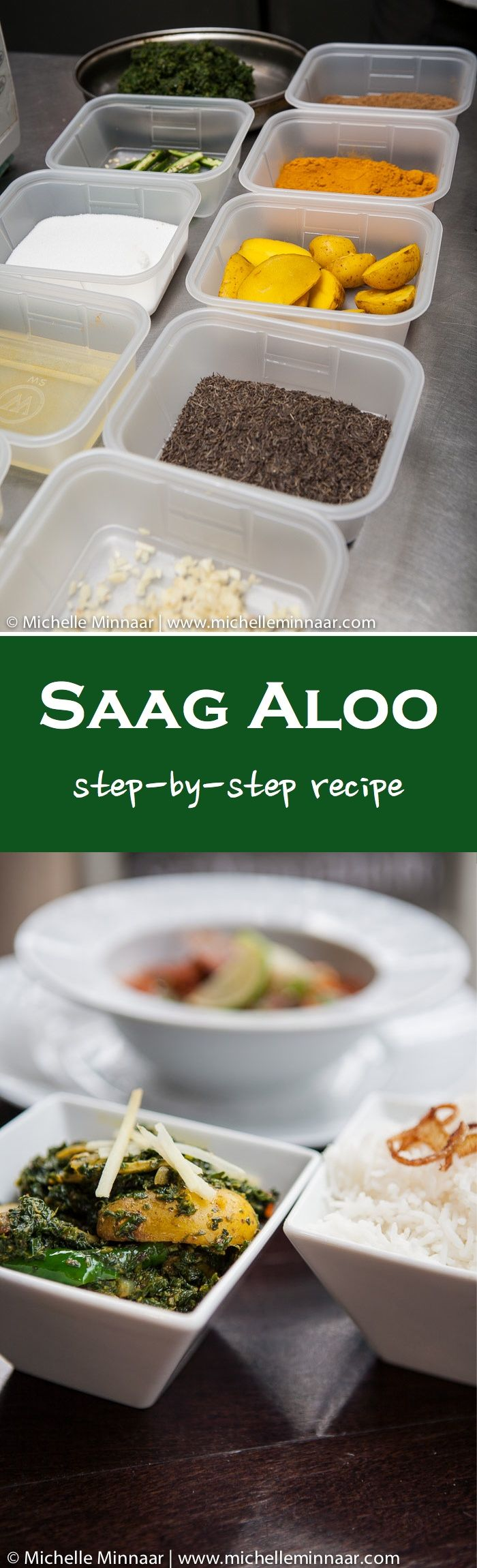 Saag Aloo: the ever-so-popular Indian side dish comprising spinach and potatoes.