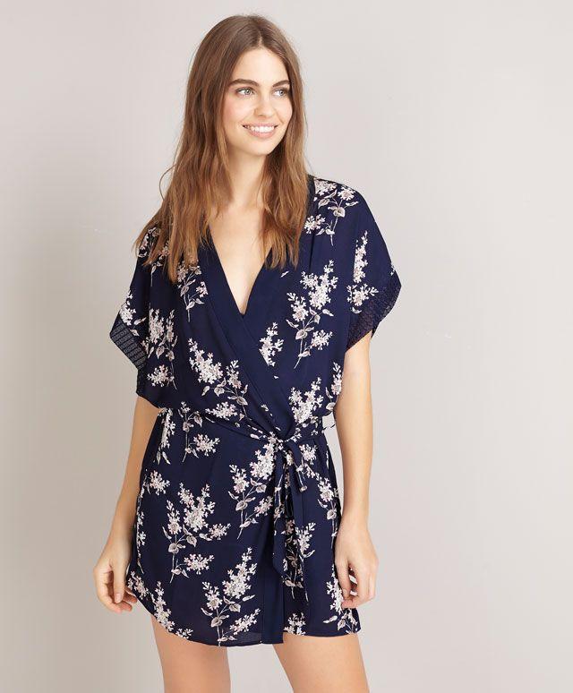 Kimono-Morgenmantel mit asiatischer Blume - OYSHO