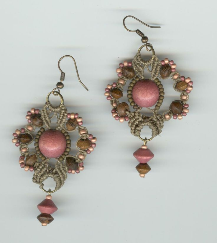 click on the pic see them up close they are truly lovely  ----  hand made.  Macrame earrings in soft spring tones!