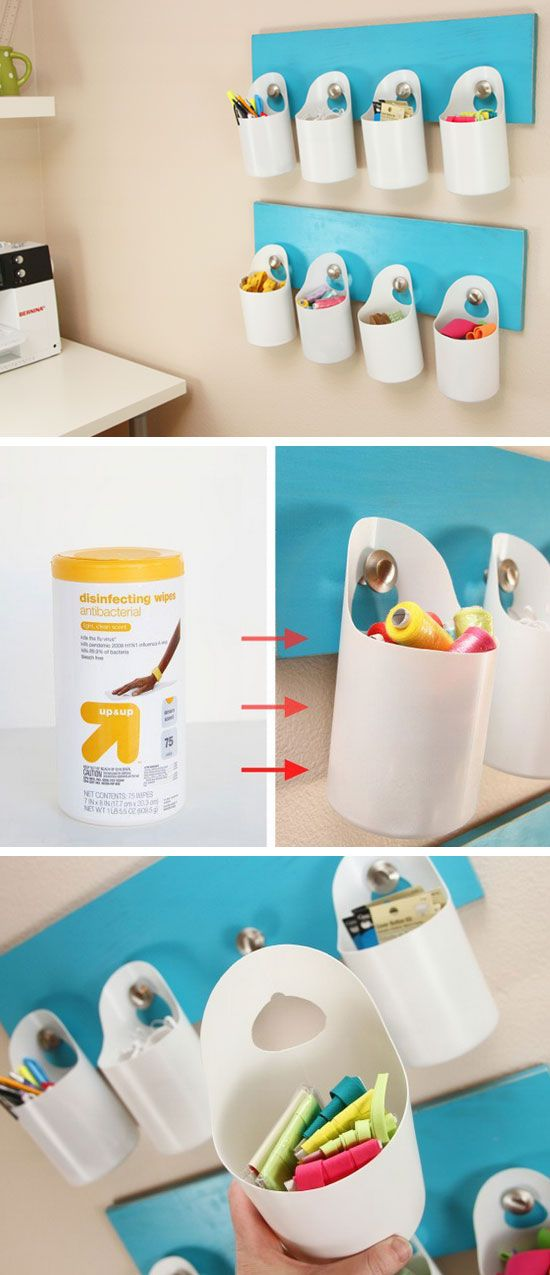Hanging Storage Bins | Small Apartment Decorating Ideas on a Budget