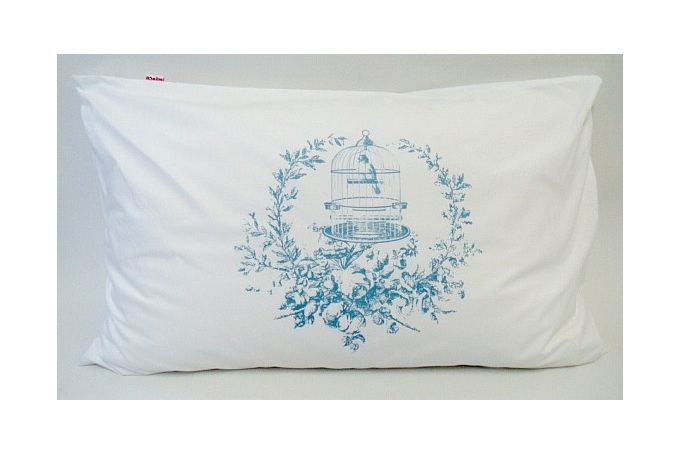 Bird in a wreath printed pillowcase pair by Big Heart Company