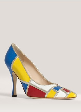 MANOLO BLAHNIK Calder Leather Pumps. The design was originally released in 1993 and pays homage to Yves Saint Laurent's 1954 Piet Mondrian dress.