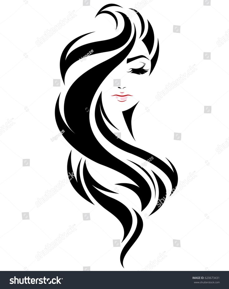Illustration Of Women Long Hair Style Icon, Logo Women