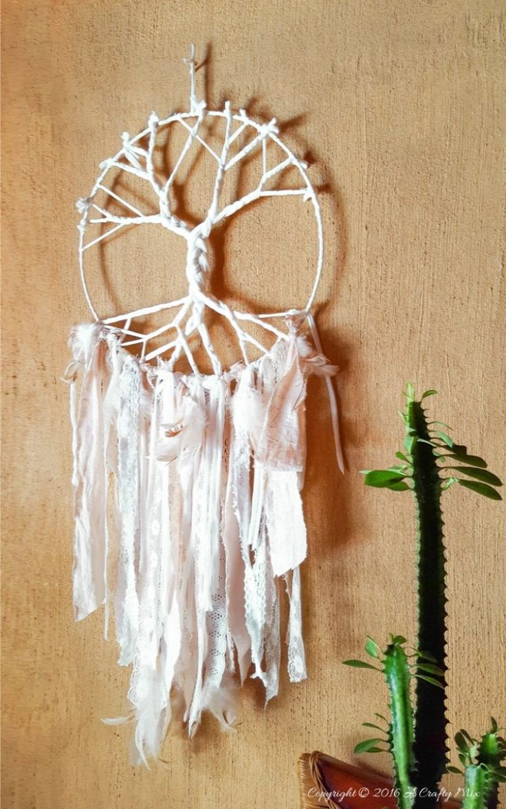 How to make a Tree of Life Dream Catcher using t-shirt yarn and scraps of fabric - full tutorial with pictures on the blog
