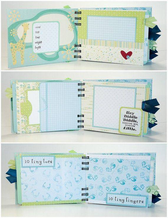 Baby Boy Scrapbook Mini Album Premade, Sweet Baby Boy, Baby Shower Gift