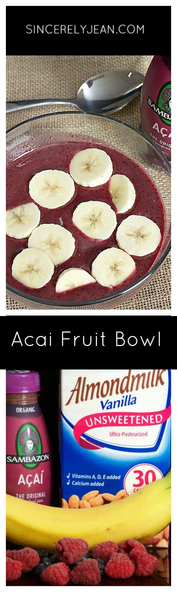 Acai fruit bowl for healthy breakfast or snack by SincerelyJean.com