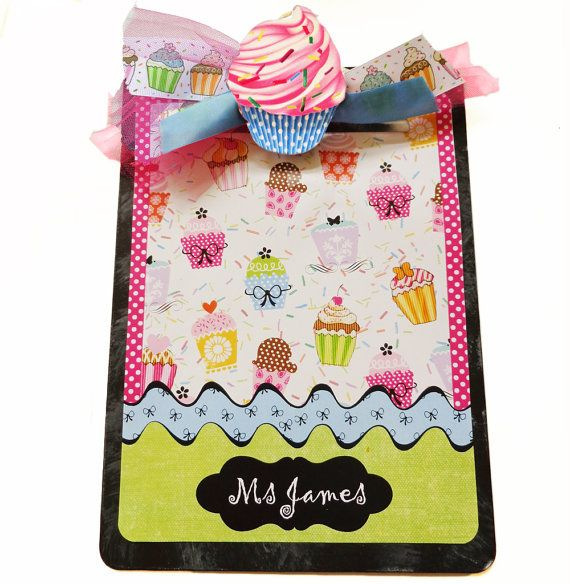 Decorative Clipboard Personalized Cupcake by FancyFramesBoutique, $16.99.  I like the wavy border!