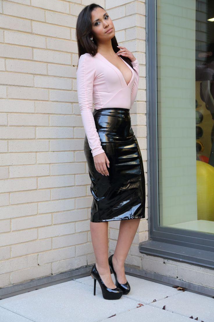 profile of diy black vinyl pencil skirt high gloss