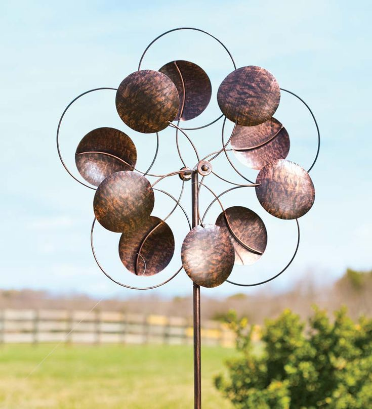 Oversized Bronze Circles Metal Wind Spinner   Plow And Hearth