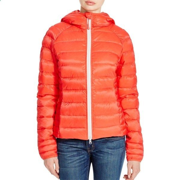 Canada Goose Brookvale Hooded Puffer Jacket ($475) ❤ liked on Polyvore featuring outerwear, jackets, coral, parka jacket, hooded parka jacket, canada goose parka, crew jacket and red jacket