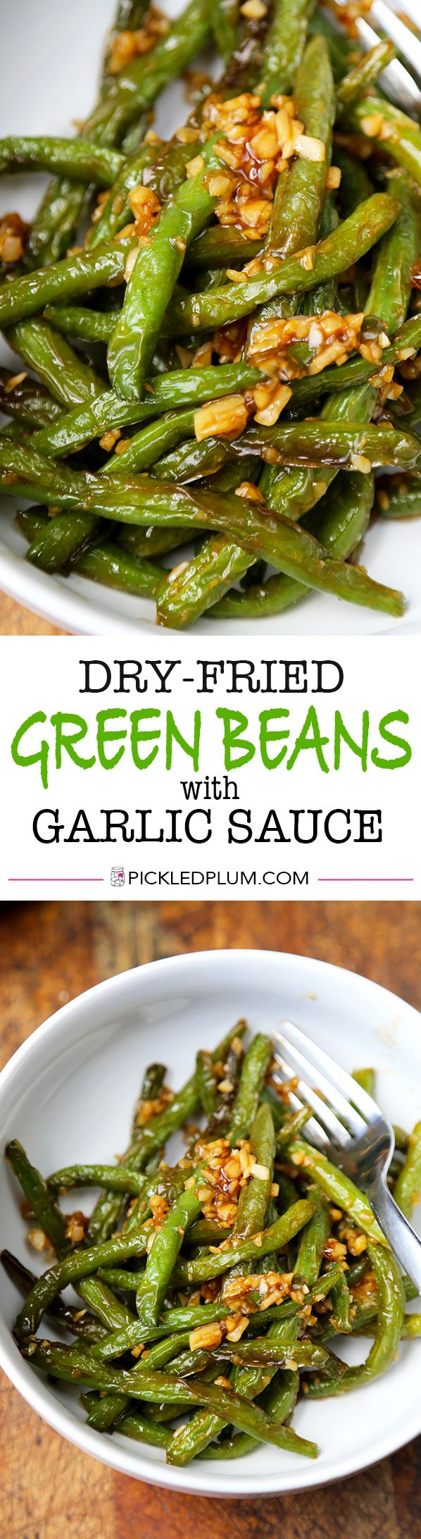 This is an easy and classic preparation for Chinese dry-fried green beans sauteed in soy, garlic and sesame oil. Tasty, salty, and tender dry-fried green beans