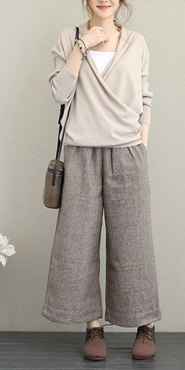 Vintage Casual Woolen Wide Leg Pants Women Warm Trousers Q1637 #casual #Leg #pa…