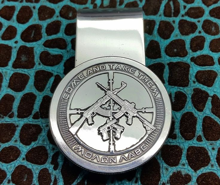 Sleek Bold Silver Bullion Come and Take Them 935 Argentium Sterling Silver big thick money clip by Phantom.
