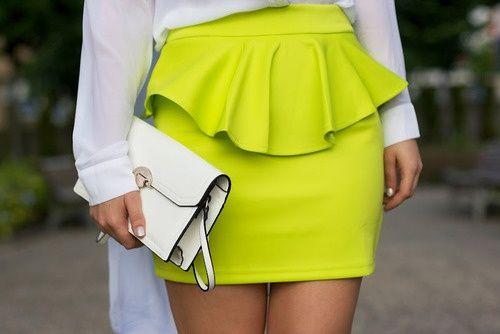 Peplum skirt #peplum: Minis Skirts, Neon Peplum, Style, Color, Peplum Color Pink, Yellow Skirts, Neon Skirts, Peplum Skirts Outfits, Cute Skirts