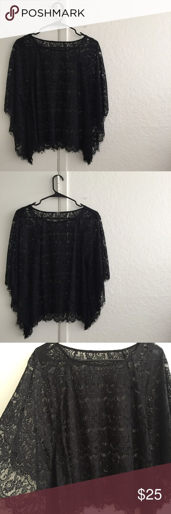 Lace • like new black kimono sleeve layering top A black lace top w. floral pattern, kimono-like sleeves, but w. the shirt structure of a loose short-sleeve top (not poncho style). Carries through all seasons: perfect to layer over a neutral tank, short or long sleeve, or cover-up. Will fit a size 6-10. Tops