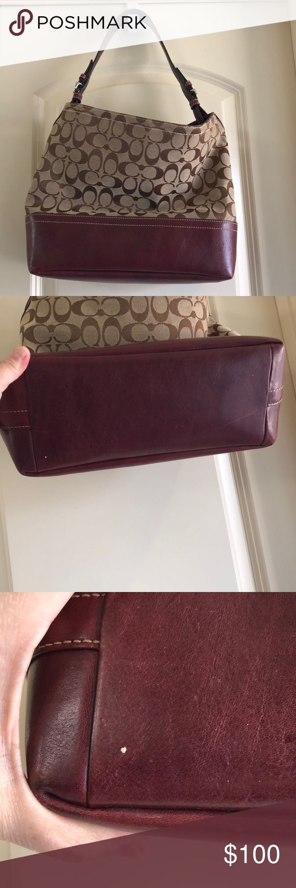 Coach Tote Authentic Coach Tote berry wine color. Guc no stains or tears. Inside and out. One dot on bottom & lightly scratched shown. Silver hardware has no scratches. Taupe signature monogrammed. Reasonable offers will consider. Coach Bags Totes