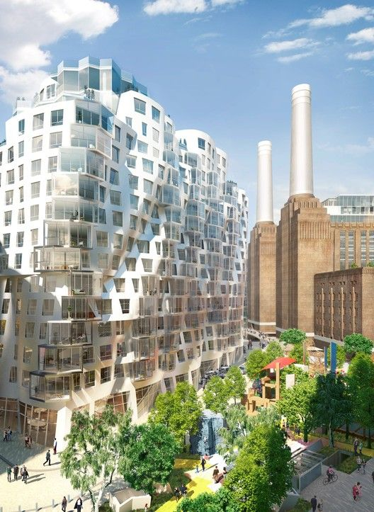"""New Images Released of Foster and Gehry's Battersea Power Station Designs, Gehry Partners' """"Prospect Place"""" Building, with Prospect Park Below. Image Courtesy of Battersea Power Station"""
