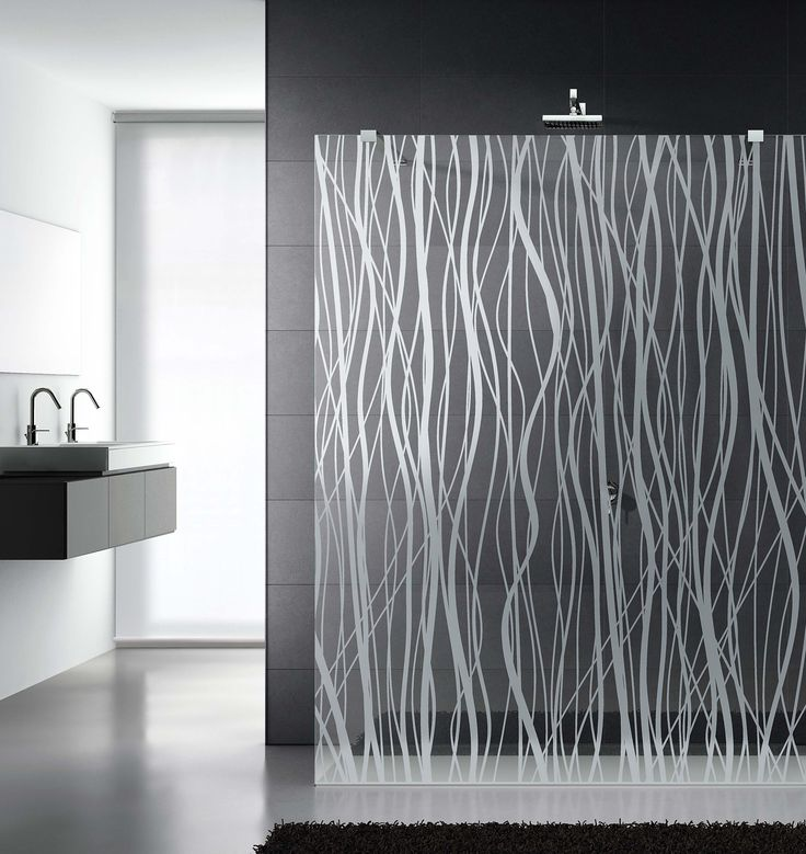 Decor Design satin'-etched glass from Italy in bold Fili two-textured pattern