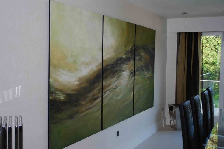 Wonderful green triptych oil painting, hand-painted to specifically go with the client's colour scheme and style. Oil on canvas, hand-painted by Fabulous Masterpieces.