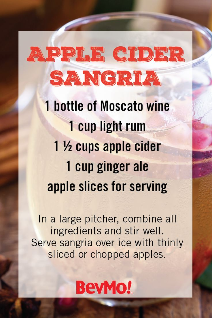 This Apple Cider Sangria recipe has all the delicious components it takes to make the perfect fall cocktail. From the Moscato wine, splash of rum, apple cider, ginger ale, and apple garnish, whip up a pitcher of this autumnal drink for your holiday party. Find all the key ingredients you need to make this recipe at your local BevMo!