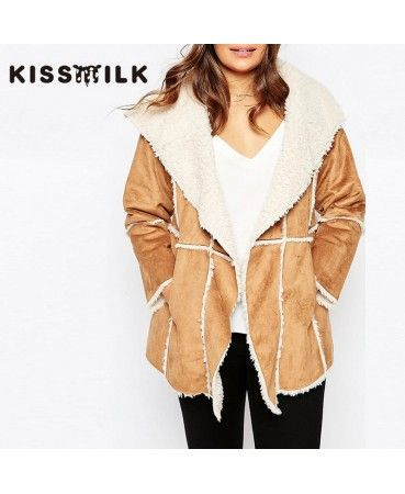 Camel suede winter coat A0813