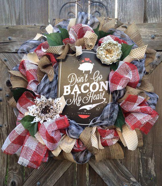 Superieur All Season Wreath, Kitchen Decor, Pig Decor, Pig, Donu0027t Go Bacon My Heart