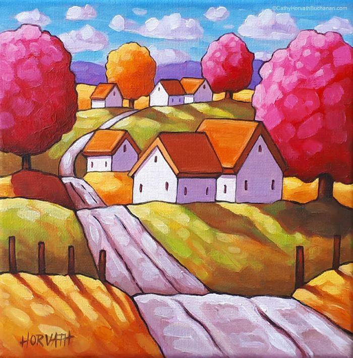 Countryside Road Tree Colors Original Painting Scenic Folk Art Landscape 8x8 Painting Art Folk Art