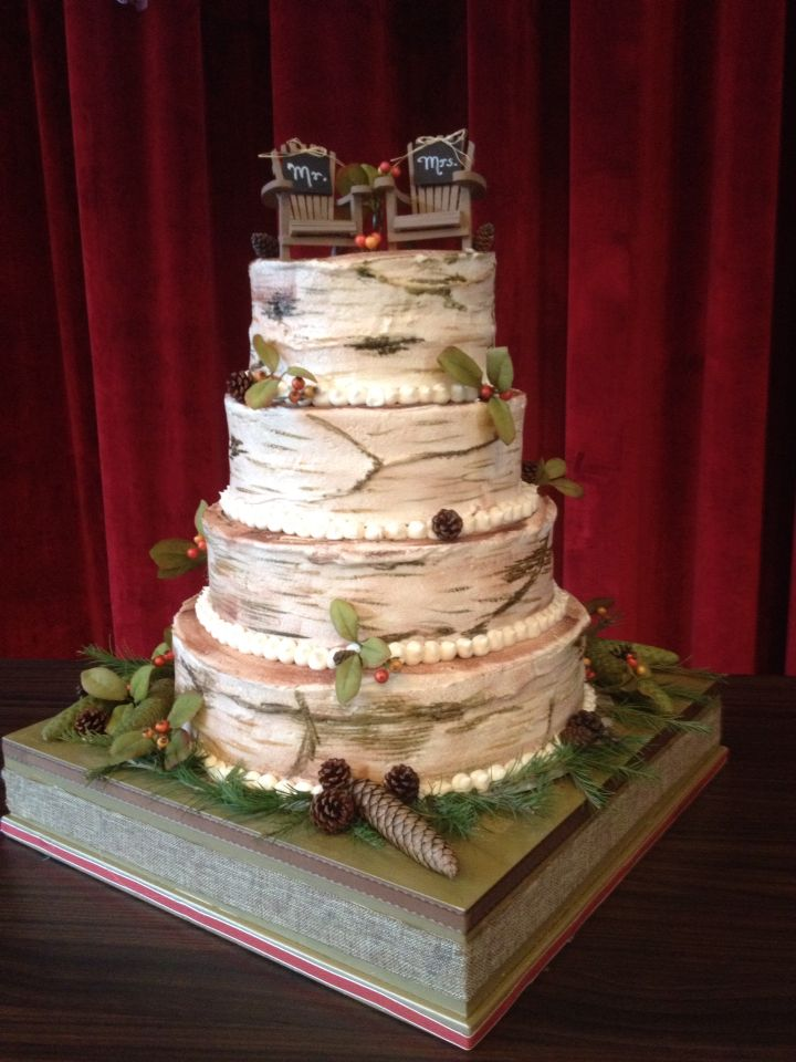 wedding cakes made with buttercream frosting our wedding cake a beautiful adirondack birch bark 24965