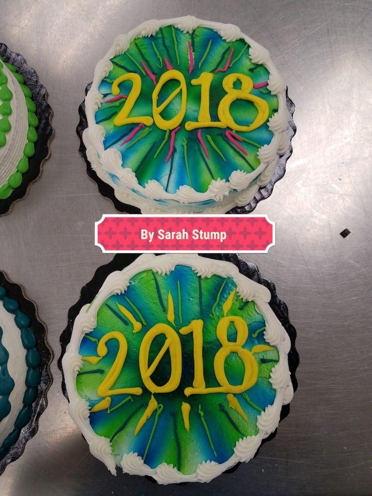 New years eve round fireworks cake- buttercream by Sarah Stump