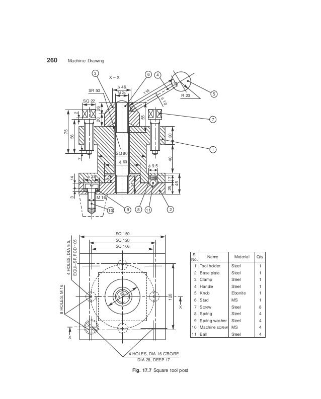 Machine Drawing Drawings Square Tool Orthographic Drawing