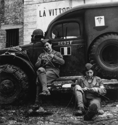 Drivers from the French ambulance corps near the front, waiting to be called, Italy, 1944 ~